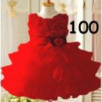 ไซส์ 100 ชุดเดรสสีแดง กระโปรงระบาย 4 ชั้นฟูๆ