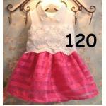 ไซส์ 120 ชุดเดรสเสื้อลูกไม้ กระโปรงสีชมพูเข้ม