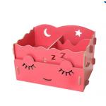 DIY Cosmetic Box กล่องจัดระเบียบเครื่องสำอางบนโต๊ะ Box 001-สีชมพูเค็ม