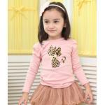 เสื้อสีชมพู แขนตุ๊กตา ลายแมว ไซด์ 90