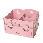 DIY Cosmetic Box กล่องจัดระเบียบเครื่องสำอางบนโต๊ะ Box 001-สีชมพูอ่อน
