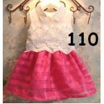 ไซส์ 110 ชุดเดรสเสื้อลูกไม้ กระโปรงสีชมพูเข้ม