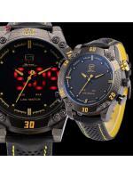 นาฬิกาSHARK Watch KiteFin (สีเหลือง) Digi-Analog Quartz LED 2 ระบบ สายข้อมือหนัง แสดงเวลา,วัน,วันที่