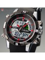 นาฬิกาSHARK Watch นาฬิกาข้อมือผู้ชาย รุ่นPorbeagle Red Quartz Digital 2 ระบบ สายยางคุณภาพดี แสดงวันที่-เวลาแบบ LCD Date-Day Sport Army