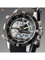 นาฬิกาข้อมือผู้ชาย SHARK Watch Porbeagle Black Quartz Digi-Analog 2 ระบบ สายยางคุณภาพดี