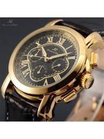 นาฬิกาข้อมือผู้ชายออโตเมติก KS Luxury Automatic Watch KS046 Imperial Golden-Black สายหนังPU