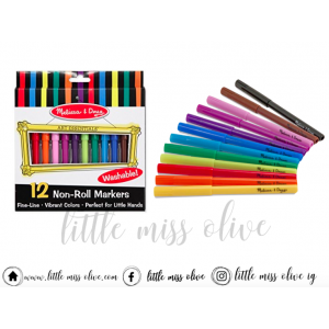 Melissa and Doug Washable Non-toxic Markers - 12 Colors