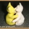 กระปุกพริกไทยเซรามิกแมวกอดกันเล็ก