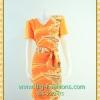 2344เสื้อผ้าคนอ้วน ชุดทำงานสีส้มคอวีทรงตรงยาวสง่าคอวีแขนจีบไหล่ดีไซน์เรียบ โบข้างเอวลายหรูเนี๊ยบเพิ่มเครื่องประดับหรือกระเป๋าสักชิ้นอัพหรูมีสไตล์