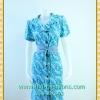 1558เสื้อผ้าคนอ้วนชุดเดรสทำงานปกเทเลอร์ใหญ่กระดุมหน้าลายดอกสีฟ้าวันแม่สไตล์เนี๊ยบ ทรงสุภาพเป็นทางการสวมใส่วันแม่