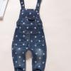 GS010 ชุดเอี๊ยมกางเกงยีนส์สีเข้ม ลายดาว