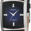 นาฬิกาข้อมือผู้ชาย Armitron Dress Luxury watch หรูหราด้วยคริสตัลจาก Swarovski หน้าปัดโทนน้ำเงินเข้ม สายข้อมือหนัง