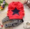 BS005 ชุดเสื้อแขนยาวสีแดง กางเกงสก๊อตลายดาว
