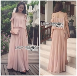 Lady Eva Off-Shoulder Baby Pink Pleated Maxi Dress L241-85E03