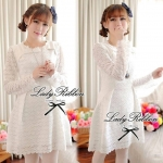 DR-LR-037 Lady Cherish Sweet Feminine Long-Sleeved Lace Dress