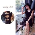 3Colorful Dress with Ribbon Back สีดำ S140-75C08