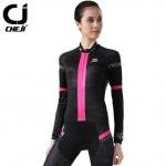 ชุดปั่นจักรยานผู้หญิง Cheji Black-Pink 002 เสื้อปั่นจักรยานแขนยาว พร้อมกางเกงปั่นจักรยานแขนยาว อย่างดี