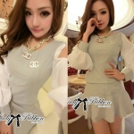 lady Mindy Cut-Out Cotton Top and Ruffle Skirt Set L129-75C02