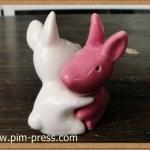 กระปุกพริกไทยเซรามิกกระต่ายกอดกัน 12 ราศี