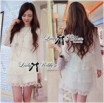 Lady Lucy Sweet Dreamy Layer Embroidered Organza and Chiffon Ensemble Set L162-89C04