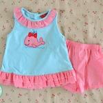 ไซส์ 3-6 เดือน ชุดเสื้อผ้าเด็กผู้หญิง สีฟ้า