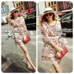 DR-LR-088 Lady Merry Blooming Print Glittery Mini dress
