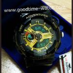 นาฬิกาข้อมือ us submarine 2ระบบ (ดิจิตอล&เข็ม) สีดำทองแวว จอดำ กันน้ำ 30 เมตร