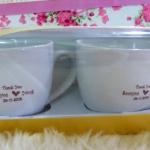 แก้วกาแฟขาว 7x7 ซม. พร้อมสกรีนสำเร็จหรือสกรีนชื่อ 1 สี แพ็คกล่องทองคู่