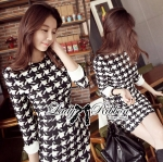 DR-LR-107 Lady Patt Formal Houndstooth Dress