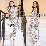 Lady Black&White Checkmate Trousers Set L134-69C01