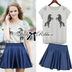Lady Embroidered Horse Print Top and Denim Flared Skirt Set L120-75D15
