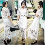 Lady Veronica White Guipure Lace Cropped Top and Maxi Skirt Set L273-8505