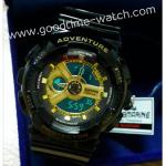 นาฬิกาข้อมือ us submarine 2ระบบ (ดิจิตอล&เข็ม) สีดำทองแวว จอดำ ไซส์Baby-G กันน้ำ 30 เมตร