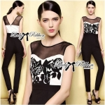Lady Christine Sexy Monochrome Rose Embroidered Jumpsuit L153-79B05