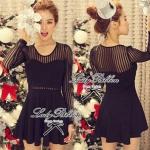 DR-LR-036 Lady Camilla Classy Luxurious Mini Dress (สีดำ)
