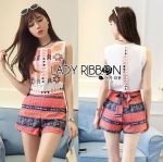 Lady Diana Vivid Tribal Embroidered Cropped Top and Printed Shorts Set L274-7515