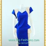 2302เสื้อผ้าคนอ้วน ชุดทำงานคอสีแต่งสีน้ำเงินสดตัดครีมเสริมชิ้นลอยชายเอวแขนเบิ้ลสไตล์เนี๊ยบมั่นใจ