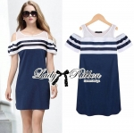DR-LR-138 Lady Isla Glam Chic Navy Blue Striped Dress