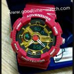 นาฬิกาข้อมือ us submarine 2ระบบ (ดิจิตอล&เข็ม) สีแดงอมชมพู หน้าปัดสีทอง สายแวว กันน้ำ 30 เมตร