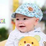หมวกแก๊ปเด็ก ไซส์ 3-6 เดือน สีฟ้า