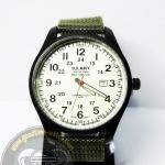 นาฬิกาข้อมือ U.S. NAVY ระบบอนาล็อก หน้าปัดเขียวพราย กันน้ำ 30 เมตร