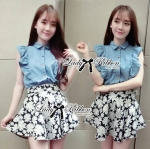 DS-PP-036 Lady Marry Ruffle Denim Shirt and Flowery Skirt Set