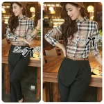 Lady Cara Burberry Style Plaid Shirt and Black Pants with Belt Set L131-79C01