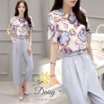 Daisy Green floral fabric blugrish set