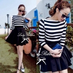 DR-LR-083 Lady Ballerina Stripe Black&White Mini Dress