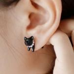 ต่างหูแฮนด์เมด แมวสีดำ 3 มิติ