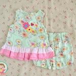 ไซส์ 0-3 เดือน ชุดเสื้อผ้าเด็กผู้หญิง ดอกไม้เขียว
