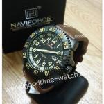 นาฬิกาข้อมือ naviforce เข็ม มีวันที่ สายหนังสีน้ำตาล หน้าดำ งานสวยมาก กันน้ำ 30 เมตร พร้อมกล่อง