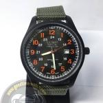 นาฬิกาข้อมือ U.S. NAVY ระบบอนาล็อก หน้าปัดสีดำตัวเลขสีส้ม กันน้ำ 30 เมตร