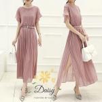 Daisy chiffon texture drain sleeve dress